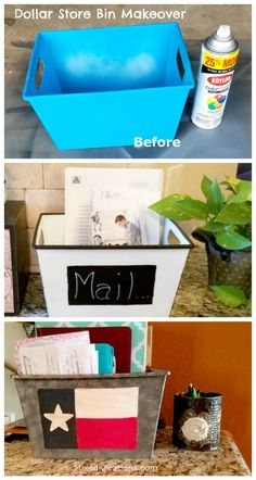How to make a faux enamel dollar store bin makeover / how to give a Dollar store bin a faux galvanized look Don't you just hate clutter all over your counter tops? Declutter your counter tops with this easy dollar store container makeover. Dollar Store Bins, Dollar Store Hacks, Dollar Stores, Dollar Dollar, Dollar Tree Decor, Dollar Tree Crafts, Diy Crafts Dollar Store, Dollar Store Decorating, Diy Craft Projects