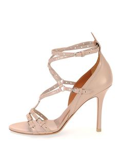 S0AG3 Valentino Love Latch Strappy Grommet Leather Sandal, Poudre