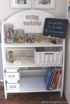 Writing workshop center. Saves space, keeps materials organized.  I would also go ahead and keep individual folders for them to store their work in progress/incomplete work.