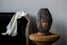 Barrel Beaded Table Lamp is the perfect statement table lamp. #beadedlighting #statementlamp #tabletoplamp #africandecor Interior Design Inspiration, Home Decor Inspiration, Barrel Table, Bedside Table Lamps, Interior Stylist, Luxury Decor, Unique Lighting, Interior Lighting, Interior Decorating