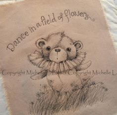 Original Pen Ink Fabric Illustration Quilt Label by Michelle Palmer Teddy Bear Field of Daisies April 2014