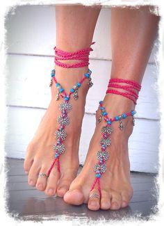 HAWAII wedding BAREFOOT SANDALS Hot Pink Flowers crochet by GPyoga