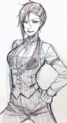 Fem! Genderbent Sebastian.  Actual sketch from Yana Toboso! WHAT IS THIS SORSCERY!??!??!