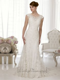 Sheath Cap Sleeves Boat Neckline Low Back Wedding Dresses Sale On LuckyDresses.com With Top Quality And Discount