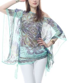 Take a look at this Mint Cape-Sleeve Top by Classique