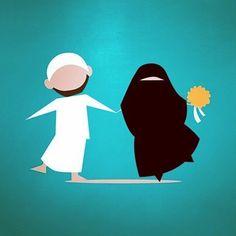 Love Cartoon Drawings, Cartoon Art, Art Drawings, Cute Muslim Couples, Cute Couples, Niqab, Islam Marriage, Islamic Cartoon, Anime Muslim
