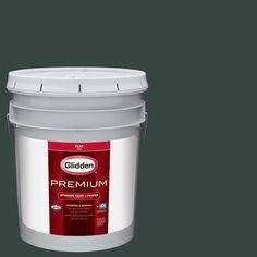 Glidden Premium 5 gal. #HDGB13D Deepest Woodland Green Flat Interior Paint with Primer