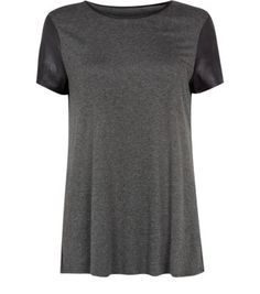 Grey Leather-Look Sleeve T-Shirt