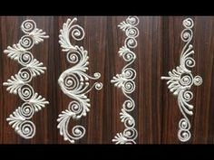 Beauty BORDER Rangoli design with colours - easy kolam designs Rangoli Side Designs, Rangoli Designs Latest, Rangoli Borders, Free Hand Rangoli Design, Small Rangoli Design, Rangoli Patterns, Rangoli Designs Diwali, Rangoli Designs With Dots, Rangoli Designs Images