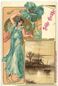 ART NOUVEAU Lady Greetings old Embossed Postcard