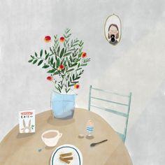 Boiled egg & Soldiers.  Illustration by Katy Pillinger Designs ©️ 2018