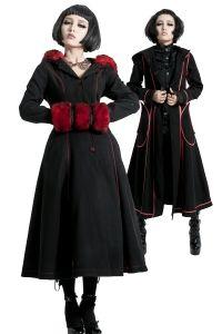 Gothic Lolita Wende-Mantel mit Kunstfell, Spitze und Kapuze