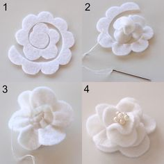 White Magnolia - Once instruction I read suggested started to at the end. I'll have to try starting at the center. #feltflowers