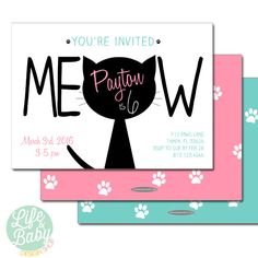 Kitty Cat Birthday Party Invitation - 5x7 with reverse side