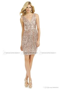 Real Image Knee Length A Line Rose Gold Sequin Bridesmaid Dress V ...
