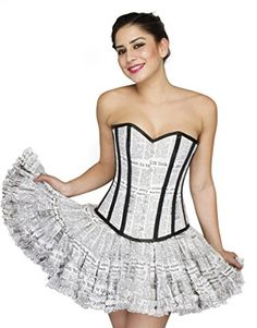 bf18bd3e6f4 Newspaper Printed Cotton Gothic Burlesque Waist Training Bustier Overbust  Corset at Amazon Women s Clothing store