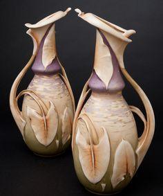 Galerie Fledermaus   Ceramics attrib: Paul Dachsel for Amphora  Lily Pitchers, ca 1900. Ceramic.