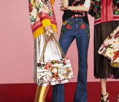 Looks from the Gucci Garden capsule collection. A reversible printed silk and wool-cashmere cardigan with a metallic leather pleated skirt and Dionysus bag, embroidered jeans and patch appliquéd T-shirt and the reversible bomber jacket with pleated skirt.