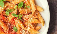 Pasta recipe using Tuscan Tomato Basil Mix. Cheap Pasta Recipes, Seafood Pasta Recipes, Greek Recipes, Italian Recipes, Italian Cooking, Red Pesto, Cream Pasta, How To Peel Tomatoes, Penne Pasta