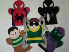 Spider man and his Villons felt hand Puppet by puppetmaker, Puppets