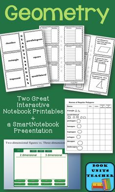 Get the FREE geometry materials. Two interactive notebook printables and a Smartboard presentation.