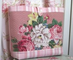 Shabby-VINTAGE-1940s-CHIC-Cotton-BARKCLOTH-Fabric-TOTE-Shopping-Bag-PINK-ROSES