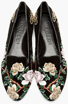 Alexander Mcqueen Black and Gold Suede Embroidered Loafers in Floral (black) | Lyst
