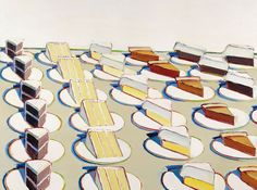 Pie Counter, 1963 by Wayne Thiebaud. Again with the saturated shadows and sharp edges. Love.