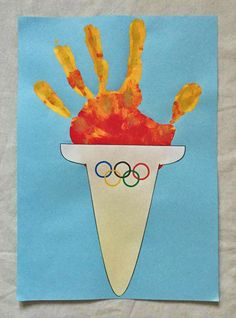 Olympic handprint torch craft olympic games for kids, olympic idea, olympic sports, olympics Olympics Kids Crafts, Olympic Crafts, Olympic Games For Kids, Olympic Idea, Toddler Crafts, Crafts For Kids, Theme Sport, Camping Crafts, Summer Crafts