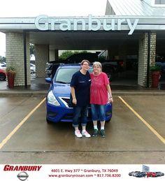 Congratulations Crycilla on your #Nissan #Versa Sedan from Greg Dowler at Granbury Nissan!  https://deliverymaxx.com/DealerReviews.aspx?DealerCode=G586  #GranburyNissan