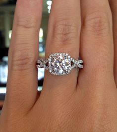 Verragio Insignia cushion shaped halo – Verragio INS-7070CU-GOLD 0.45ctw Diamond Engagement Ring