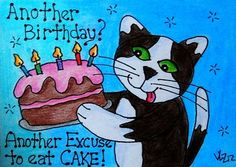 BIRTHDAY KITTY WITH CAKE ACEO ON EBAY