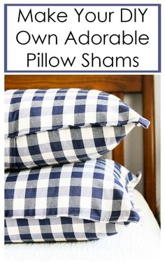 Decorative DIY Pillow Shams bring charm to your farmhouse/rustic home decor. This simple project will teach you basic sewing skills AND add to your home. Toss them on the bed or on the couch and… Diy Home Decor Projects, Easy Projects, Home Crafts, Sewing Projects, Sewing Crafts, Fabric Crafts, Sewing Ideas, Project Ideas, Diy Crafts