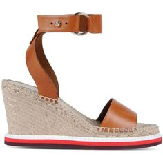 Stella McCartney Tan Raffia Espadrilles ($585) ❤ liked on Polyvore featuring shoes, sandals, tan, tan sandals, ankle tie wedge sandals, wedge sandals, tan wedge shoes and ankle wrap sandals