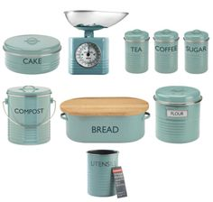 Typhoon-Vintage-Kitchen-Blue-Enamel-Bread-Bin-Scales-Cake-Compost-Storage-Tin