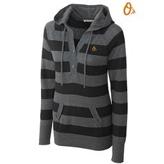 Baltimore Orioles Knockout Striped Hooded Sweater by Cutter & Buck - MLB.com Shop