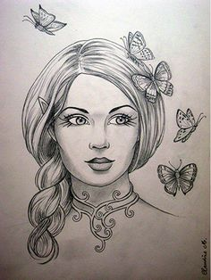 """Képtalálat a következőre: """"elf girl face draw"""" Shading Drawing, Drawing Sketches, Nature Sketches Pencil, Drawing Skills, Elf Drawings, Pencil Drawings Of Girls, Cool Drawings, Butterfly Art, Colorful Butterfly Drawing"""