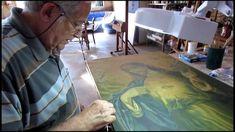 Teste de solventes para restauro de pintura, com Nirceu Helena.