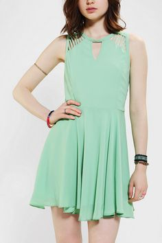 #UrbanOutfitters        want this in red!!  Sparkle & Fade Lattice-Shoulder Skater Dress 39.99