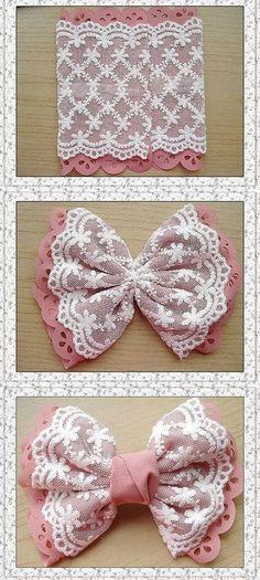 DIY Bow - might well go on a little girl's dress - jute Beutel - Baby Headbands Diy Hair Bows, Diy Bow, Diy Ribbon, Ribbon Work, Ribbon Crafts, Fabric Crafts, Sewing Crafts, Sewing Projects, Fabric Hair Bows