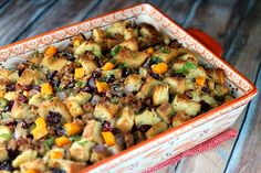 Sausage- Herb Stuffing with Butternut Squash & Cranberries