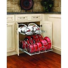 Closet Organizers Shelving Units Cookware Cabinet Pots Pans Lids Storage Kitchen