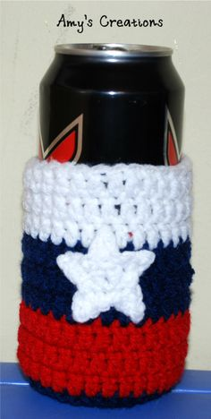 Crochet Red, White, & Blue Can Cozy Enjoy thisRed, White, & Blue Can Cozy for the Summer or 4th of July! It's always nice to use this Cozy to keep your drinks cold longer! That is a 16 oz can in the picture, but can use this for an 8 oz can or bottle. If you tell others about my work,