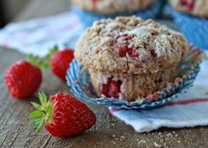 Strawberry Streusel Muffins recipe - Crunchy-sweet cinnamon streusel tops these oversized strawberry-packed muffins.