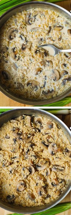 Easy mushroom risotto - mushrooms are sautéed with garlic and onions in olive oil, then combined with rice and cheese. How to make mushroom risotto Risotto Recipes, Rice Recipes, Veggie Recipes, Vegetarian Recipes, Dinner Recipes, Cooking Recipes, Healthy Recipes, Healthy Foods, Dinner Ideas