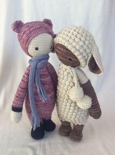 BINA the bear /  LUPO the lamb made by Lydia / crochet pattern by lalylala