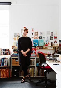 Illustrator Kat Chadwick in her Fitzroy studio. Photo – Annette O'Brien for The Design Files.