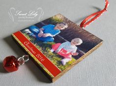 Custom Two-Sided Wooden Photo Ornament with Red by ilovethoseboys