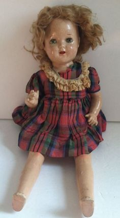"""Composition Cloth Shirley Temple Princess Elizabeth Unmarked Doll 1930s 19"""" TLC"""