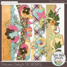 Natures Delight Digital Scrapbooking BORDERS $3.00